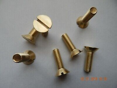 "BRASS FLAT HEAD SLOTTED MACHINE SCREWS.  3/8-16 x 1 1/4"" 7 PCS. NEW-NOS"