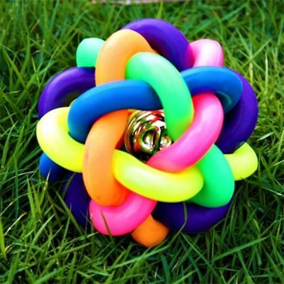 1Pc Dog Puppy Cat Pet Rainbow Colorful Rubber Bell Sound Ball Funny Playing Toy