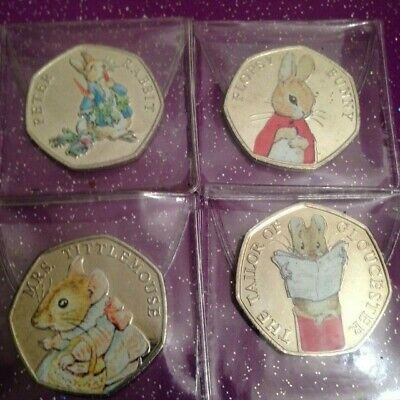Uncirculated Coloured 2018 Peter Rabbit Beatrix Potter 50P Coin Full Set Of 4