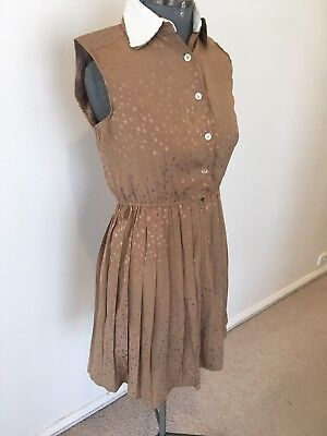 Vintage Shirt Dress Gold/Tan Size Modern 8 Boho ❤️romantics❤️ultra Femme
