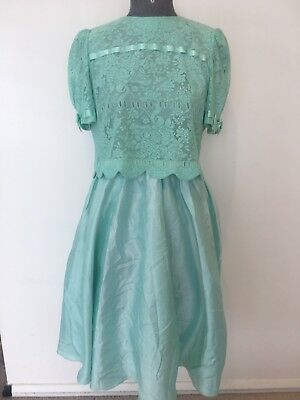 Pretty Green Japanese 1970s Vintage Prom Dress Size Modern 8/10