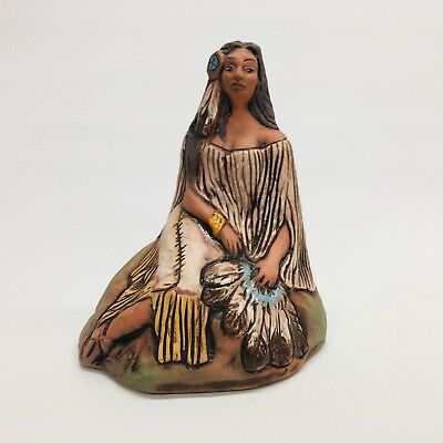 Rick Wisecarver Wihoa Pottery Native American Indian Woman Figurine Statue 1984