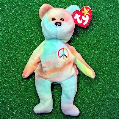NEW Ty Beanie Baby PEACE Bear Retired Teddy - PVC 4TH   5TH - MWMT 5c134e3b19fc