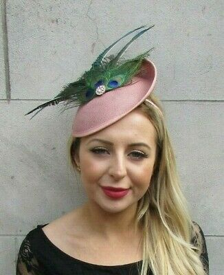 Nude Dusky Pink Green Peacock Feather Disc Saucer Hat Fascinator Hair Races 7072