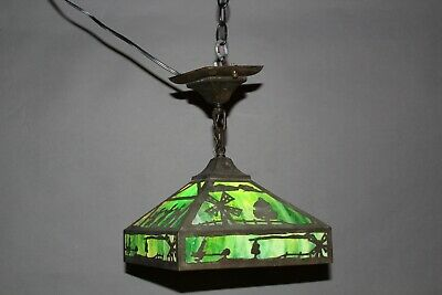 Arts And Crafts Mission Antique Pendant With Green Slag Glass Circa1910 (11673)
