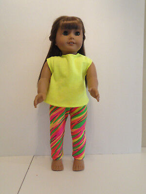 """Neon Stripes Leggings/Yellow Knit Top for 18"""" Doll Clothes American Girl"""