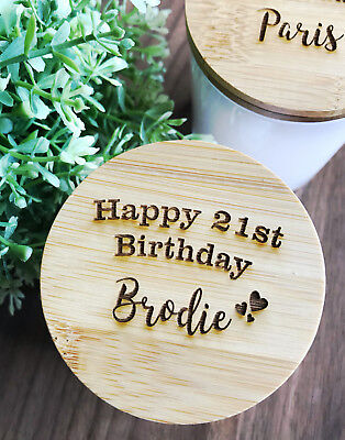 Birthday Gift - Personalised Engraved Wooden Lid  Scented Candles in Tumbler