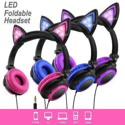 LED Glowing Wire Bluetooth Cat Ear Headphones Foldable Earphone for iPhone iPad