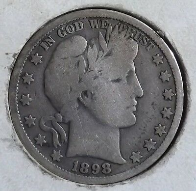 1898-O 50C Barber Half Dollar Early Better Date VG/F Best Offer Bargain UT-2