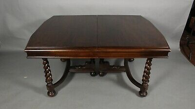 Antique 1920's Spanish Revival Walnut Dining Room Table With Leafs (11667)