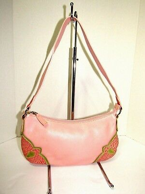 CLAUDIA Firenze Pink Small Pebbled Leather Baguette Bag Purse New e0f9dc41f4261