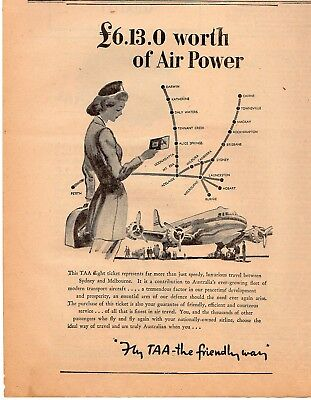 Vintage TAA Trans Australia Airlines Advertisement - The Bulletin December 1947