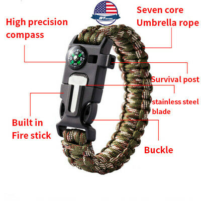 Camping Survival Emergency Paracord BRACELET Fire Starter FLINT Compass Whistle