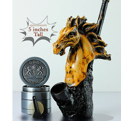 "Horse Crafted  5"" Figurine Smoking Pipe Tobacco medium Pot 4 piece herb grinder"