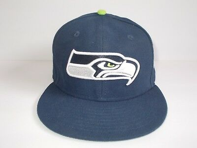 63183d8d714 Seattle Seahawks NFL New Era 59Fifty Fitted Hat Cap Navy Size 7 3 8 (