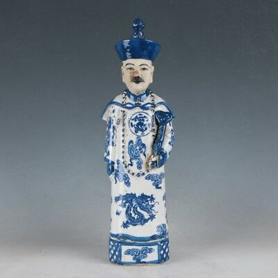 China Underglaze Blue Porcelain Hand Carved Ancient Chinese Officials Statue