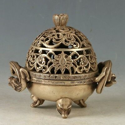 Chinese Copper Hand-carved Openwork Incense Burner