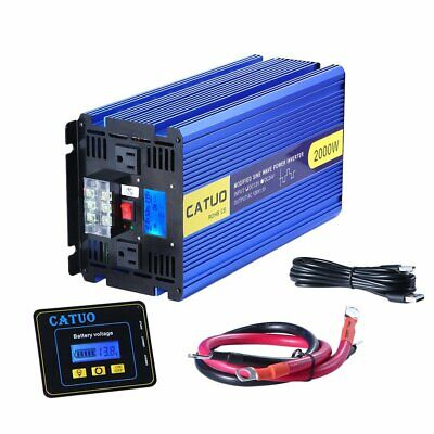 Power Inverter 2000W 4000 Watt 12V dc to 110V 120V ac LCD Cables car RV durable
