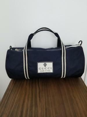 96781be1dc03 New Designer Gucci Fabulous Nylon Duffle Large Bag Dark Blue Made in Italy