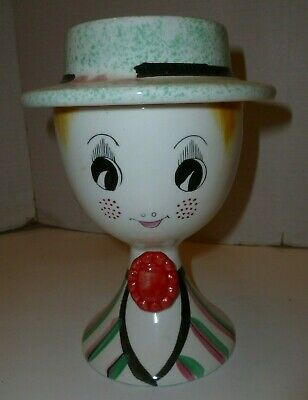 1959 Lego Dapper Gal lidded ceramic jar with hat that comes off  RARE
