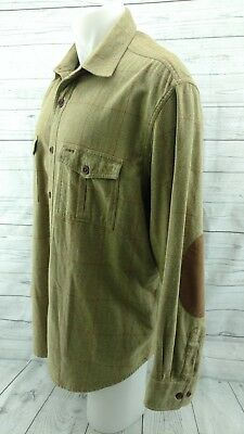 Orvis Ls Button Up Shirt Brown Olive Green With Brown Elbow Patches