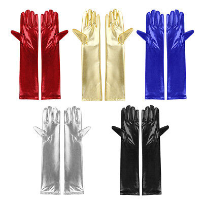 Women Leather Long Finger Gloves Mitten Party Clubwer Cosplay Opera Prom Costume
