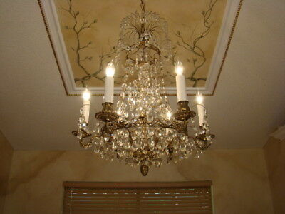 Rare Spectacular Antique Brass  Crystal Marseille French Empire Chandelier