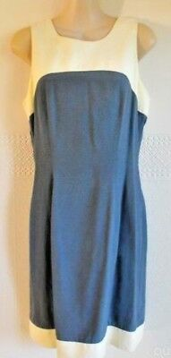 Size 8 Women's Blue & Cream Sleeveless 'chelsea Design' 1980's Vintage Dress