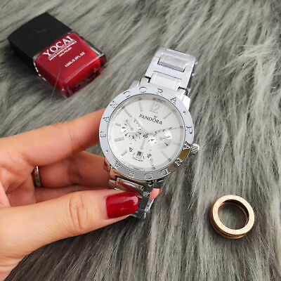 New Fashion Stainless Steel Simple Quartz Wristwatch P Bear Watch Silver