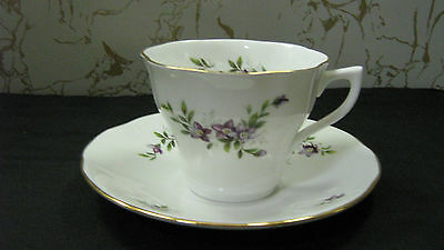 Duchess Tea Cup and Saucer England Bone China Queens #16 Violet Flowers  NICE !