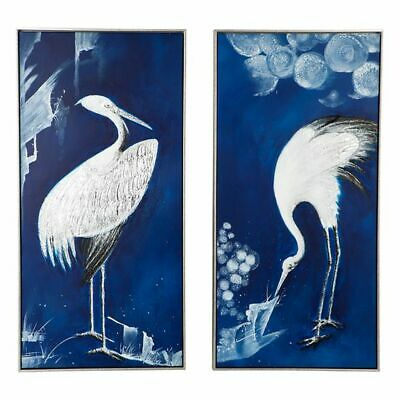 NEW CAFE Lighting & Living Indigo Crane Framed Canvas Painting (Set of 2)