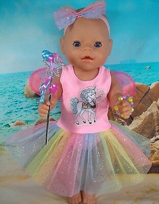"""Dolls clothes for 17"""" Baby Born doll~UNICORN RAINBOW FAIRY DRESS AND ACCESSORIES"""