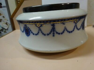 Victorian-era translucent blue & gold decorative bowl with silver plated top rim