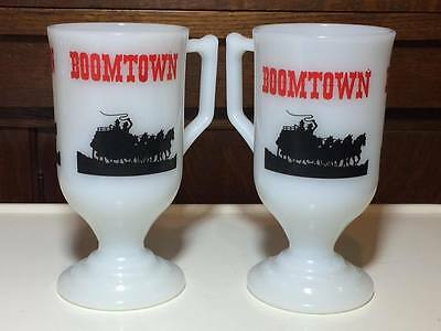 """Vintage Federal glass tall coffee mugs """"Boomtown"""""""