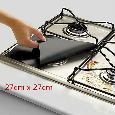 4x Foil Gas Hob Clean Protector Liner Non-Stick Dishwasher Reusable Cleaning Pad
