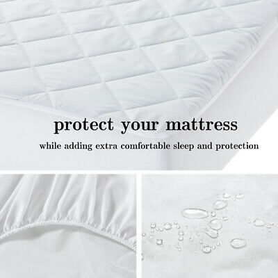 Waterproof Mattress Protector Fitted Quilted Cover White All Size