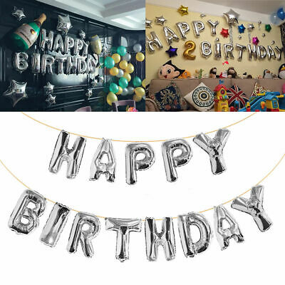 Happy Birthday Balloon Balloons Banner Bunting Rose Gold Silver Letters Foil BY