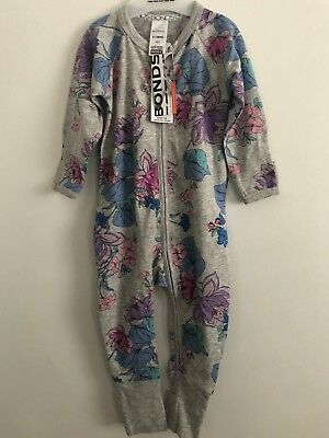 Bonds Baby Zip Wondersuit/babygrow Nwt Floral Love Grey Marle Unisex All Sizes