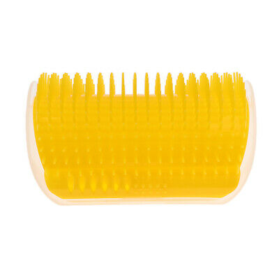Pet Cat Self Wall Corner Groomer Brush Grooming Massage Comb Massager Yellow