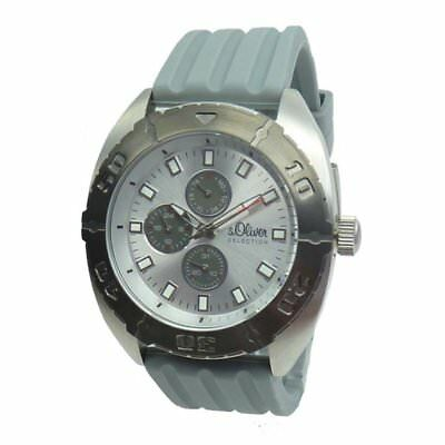 S.Oliver Silicone Men's Watch So-2272-pm: Grey Wrist Watch Watches