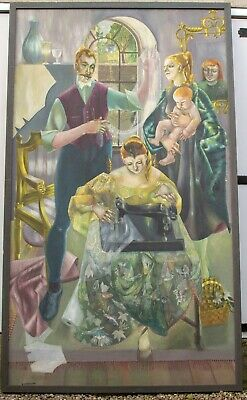 """HUGE ORIGINAL OIL PAINTING, GOTHIC style, framed, 86"""" tall by E Bremner"""