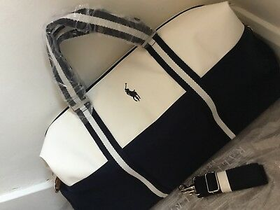911f05dab55a Ralph Lauren Blue   White Polo Duffle Holdall Gym Bag Weekend Overnight Bag  New