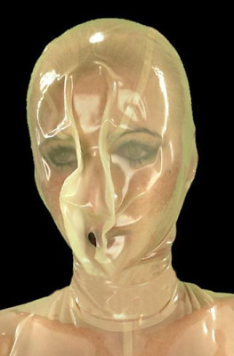 Transparent Latex Mask Rubber Hood Outfit With Open Nostrils Uisex for Men Women