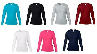 Anvil Ladies Long Sleeve Fitted Cotton Womens T-Shirt Top AV128