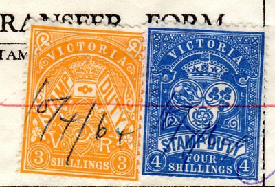 Victoria State Stamp Duty 1964 - 3 shilling, 4 shilling on Share transfer