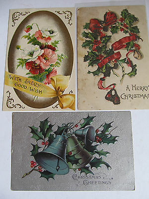 Three Lovely Antique postcards, Flowers Xmas theme