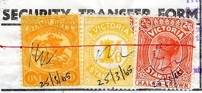 Victoria State Stamp Duty 1965 - one pound & 2/6 shilling, 1/6 on Share transfer