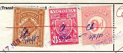 Victoria State Stamp Duty 1963 - 10 and 8 shilling & 9 pence on Share transfer