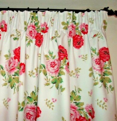 """CATH KIDSTON THERMAL BLACKOUT LINED CURTAINS in ANTIQUE ROSE BOUQUET 54"""" drop"""