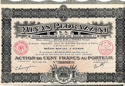 Ensemble de 8 Actions au porteur - Minas Pedrazzini Gold and Silver Mining -1921